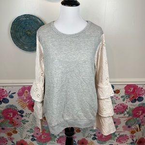 THML Grey Cream Eyelet Ruffle Cottage Sleeve Shirt Size Large
